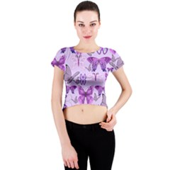 Purple Awareness Butterflies Crew Neck Crop Top