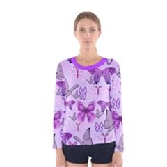 Purple Awareness Butterflies Long Sleeve T-shirt (Women)
