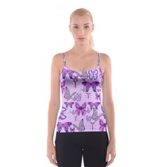 Purple Awareness Butterflies Spaghetti Strap Top