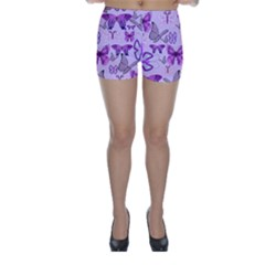 Purple Awareness Butterflies Skinny Shorts