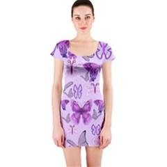 Purple Awareness Butterflies Short Sleeve Bodycon Dress