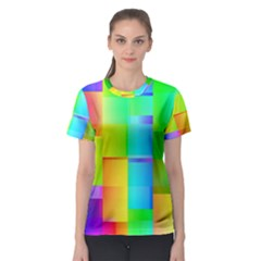 Colorful Gradient Shapes Women s Sport Mesh Tee