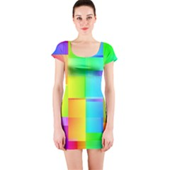 Colorful Gradient Shapes Short Sleeve Bodycon Dress