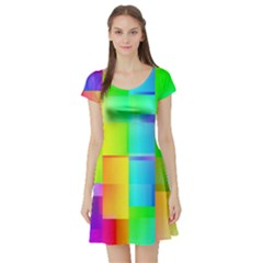 Colorful Gradient Shapes Short Sleeve Skater Dress