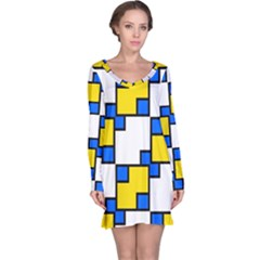 Yellow And Blue Squares Pattern  Nightdress