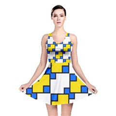 Yellow and blue squares pattern  Reversible Skater Dress