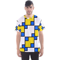 Yellow and blue squares pattern  Men s Sport Mesh Tee