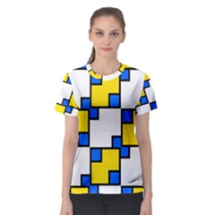 Yellow and blue squares pattern  Women s Sport Mesh Tee