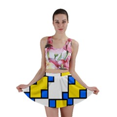 Yellow And Blue Squares Pattern  Mini Skirt