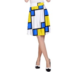 Yellow And Blue Squares Pattern  A Line Skirt