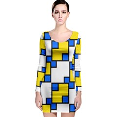 Yellow and blue squares pattern  Long Sleeve Bodycon Dress