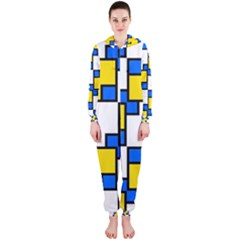 Yellow and blue squares pattern  Hooded OnePiece Jumpsuit