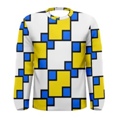 Yellow and blue squares pattern  Men Long Sleeve T-shirt