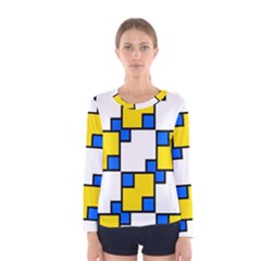 Yellow and blue squares pattern  Women Long Sleeve T-shirt