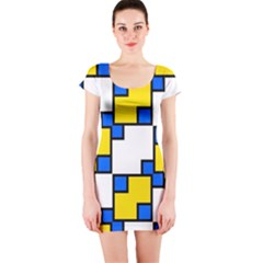 Yellow and blue squares pattern  Short sleeve Bodycon dress