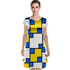 Yellow And Blue Squares Pattern  Cap Sleeve Nightdress