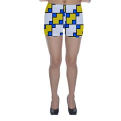 Yellow And Blue Squares Pattern  Skinny Shorts