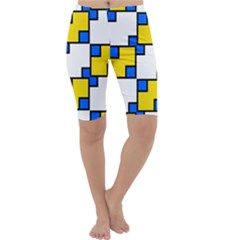 Yellow And Blue Squares Pattern  Cropped Leggings