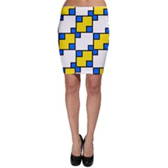 Yellow and blue squares pattern  Bodycon Skirt