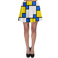 Yellow and blue squares pattern Skater Skirt