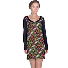 Colorful Tribal Print Long Sleeve Nightdress