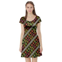 Colorful Tribal Print Short Sleeve Skater Dress
