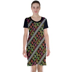 Colorful Tribal Print Short Sleeve Nightdress