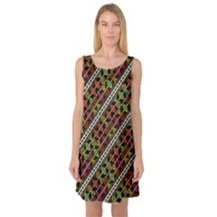 Colorful Tribal Print Sleeveless Satin Nightdress