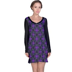 Luxury Pattern Print Long Sleeve Nightdress
