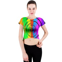 Rainbow Test Pattern Crew Neck Crop Top