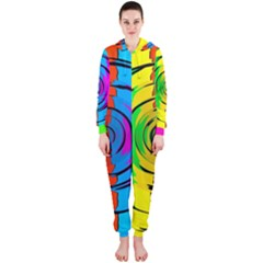 Rainbow Test Pattern Hooded OnePiece Jumpsuit (Ladies)