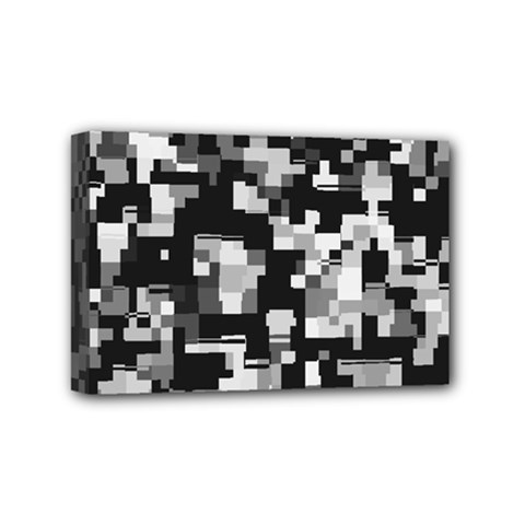 Background Noise In Black & White Mini Canvas 6  X 4  (framed)