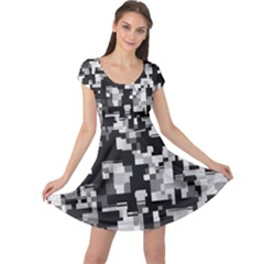 Background Noise In Black & White Cap Sleeve Dress