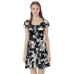 Background Noise In Black & White Short Sleeve Skater Dress