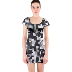 Background Noise In Black & White Short Sleeve Bodycon Dress