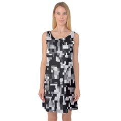 Background Noise In Black & White Sleeveless Satin Nightdress