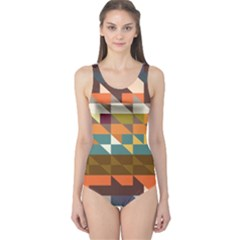 Shapes In Retro Colors Women s One Piece Swimsuit