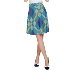 Squares And Stripes Pattern A Line Skirt