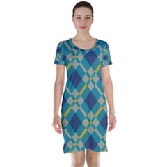 Squares And Stripes Pattern Short Sleeve Nightdress