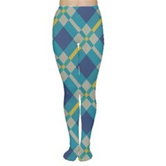Squares and stripes pattern Tights