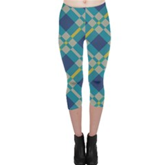 Squares and stripes pattern Capri Leggings