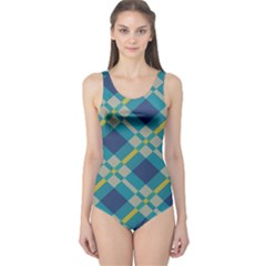Squares And Stripes Pattern Women s One Piece Swimsuit