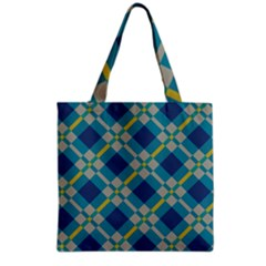 Squares and stripes pattern Grocery Tote Bag