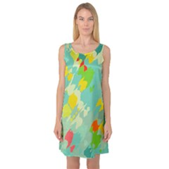 Smudged shapes Sleeveless Satin Nightdress