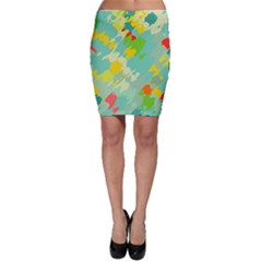 Smudged Shapes Bodycon Skirt