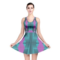 Tribal purple rhombus Reversible Skater Dress