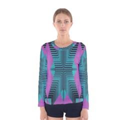 Tribal purple rhombus Women Long Sleeve T-shirt