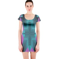 Tribal purple rhombus Short sleeve Bodycon dress