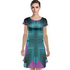 Tribal Purple Rhombus Cap Sleeve Nightdress