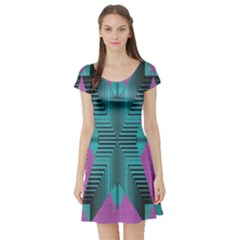 Tribal Purple Rhombus Short Sleeve Skater Dress